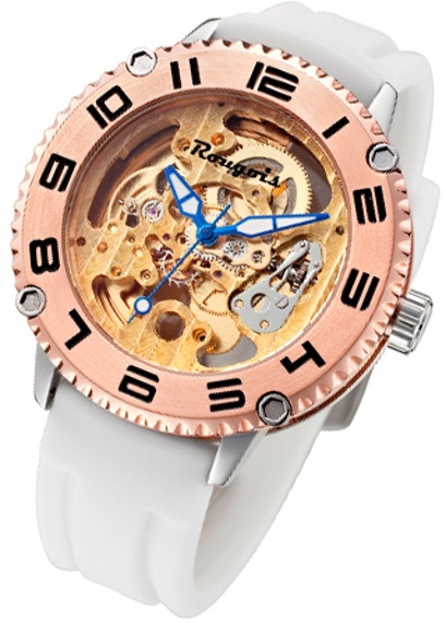 Rougois Skeleton Watch Automatic Mechanical Movement w/ White Silicone Band