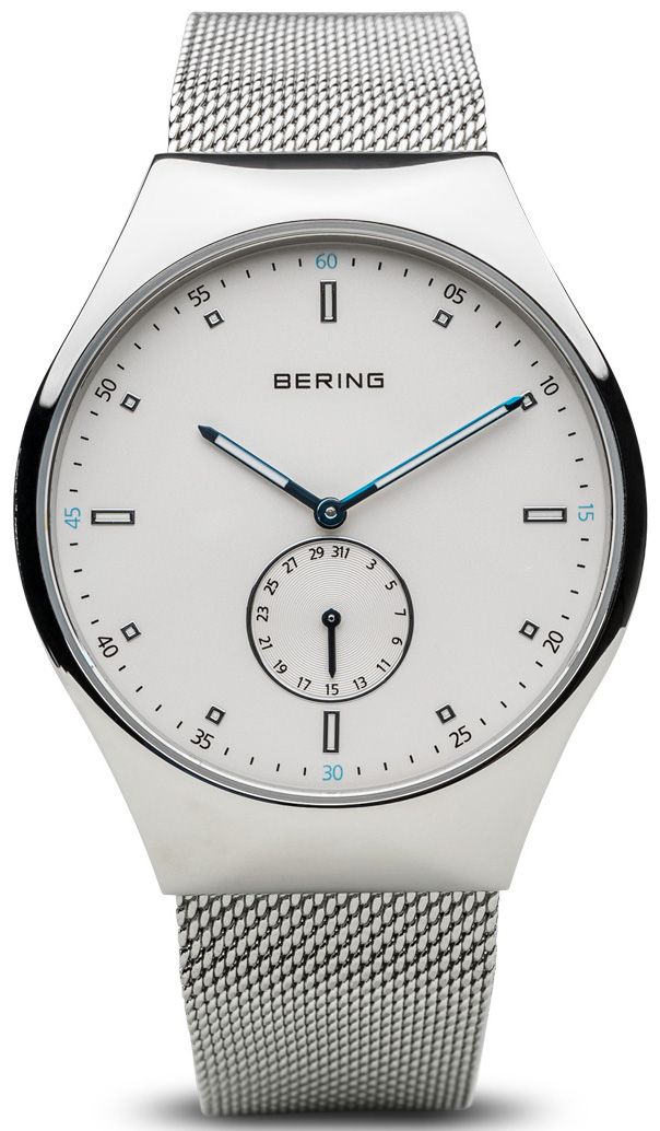 Bering Time - Smart Traveler - Mens Silver Tone Watch and Mesh Band Bluetooth Connected 70142-004