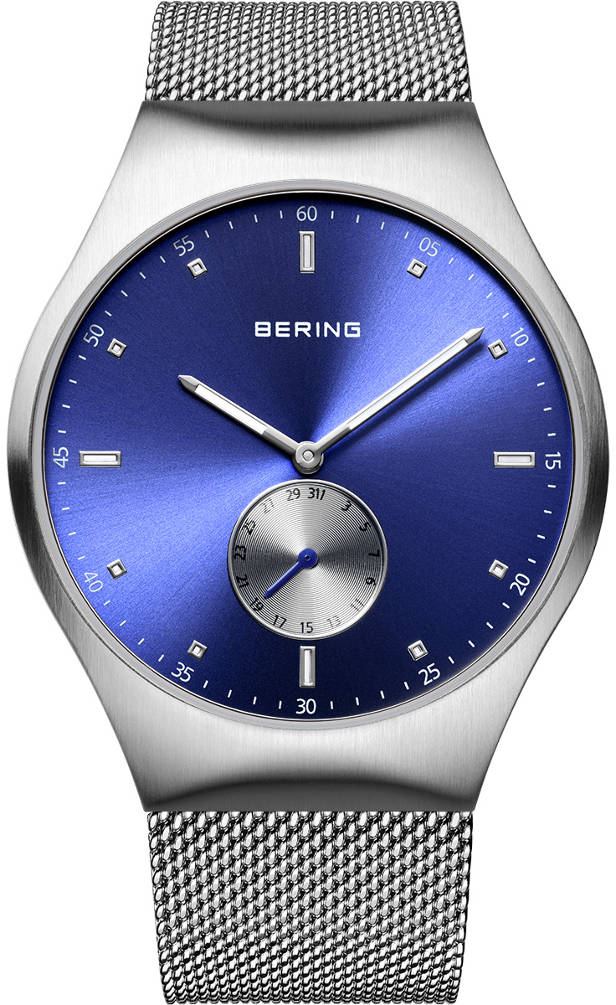 Bering Time - Smart Traveler - Mens Silver Tone & Blue Watch Mesh Band Bluetooth Connected 70142-807