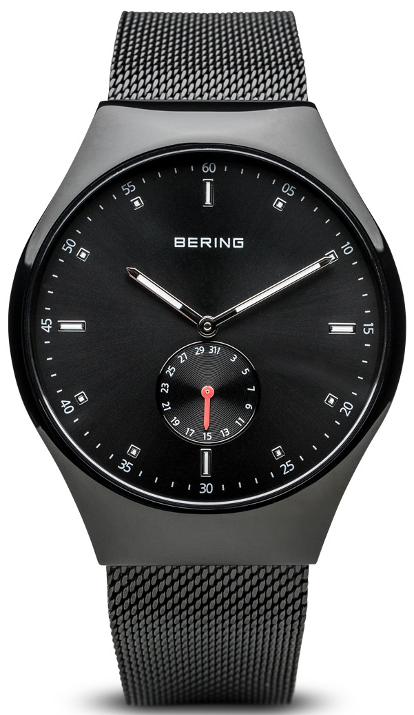 Bering Time - Smart Traveler - Mens Brushed Black Watch with Mesh Band Bluetooth Connected 70142-222