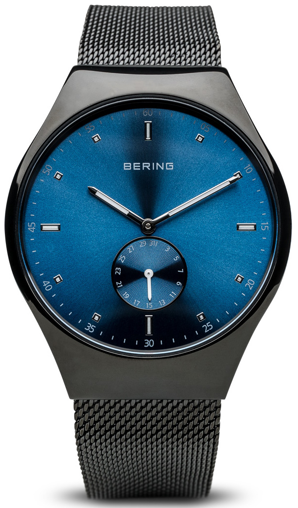 Bering Time - Smart Traveler - Mens Brushed Black & Blue Watch Mesh Band Bluetooth Connected 70142-227