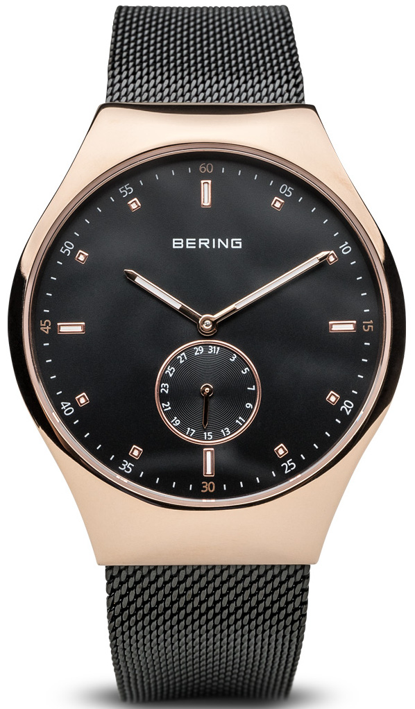 Bering Time - Smart Traveler - Mens Brushed Rose Gold Tone Watch Mesh Band Bluetooth Connected 70142-262