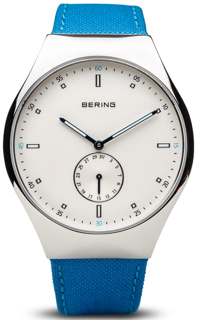 Bering Time - Smart Traveler - Mens Silver Tone & Blue Nylon Watch Bluetooth Connected 70142-604