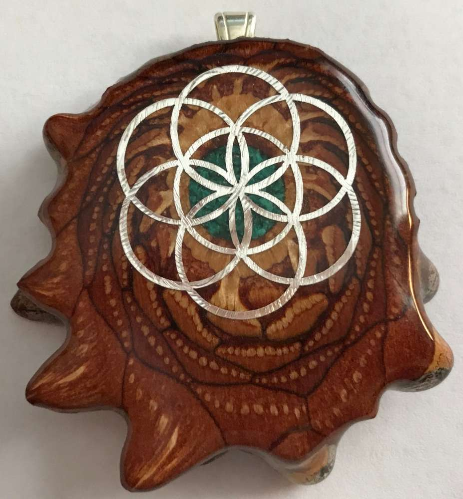 """Third Eye Pinecones - 2"""" Crushed Malachite w/ White Seed of Life Pendant - Handcrafted from the Knobcone Pinecone"""