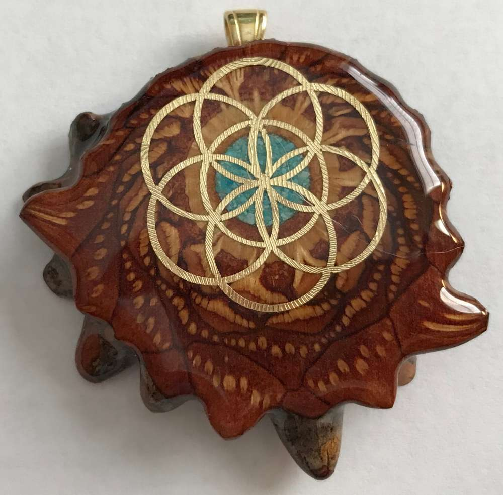 """Third Eye Pinecones - 1.5"""" Crushed Turquoise w/ 24k Seed of Life Pendant - Handcrafted from the Knobcone Pinecone"""