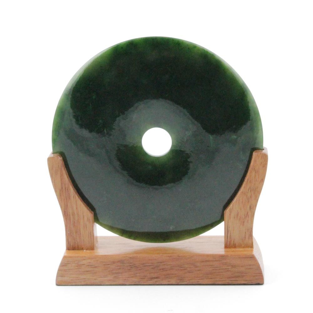 Green Genuine Natural Nephrite Jade PI on Wooden Base 4in - DISCONTINUED