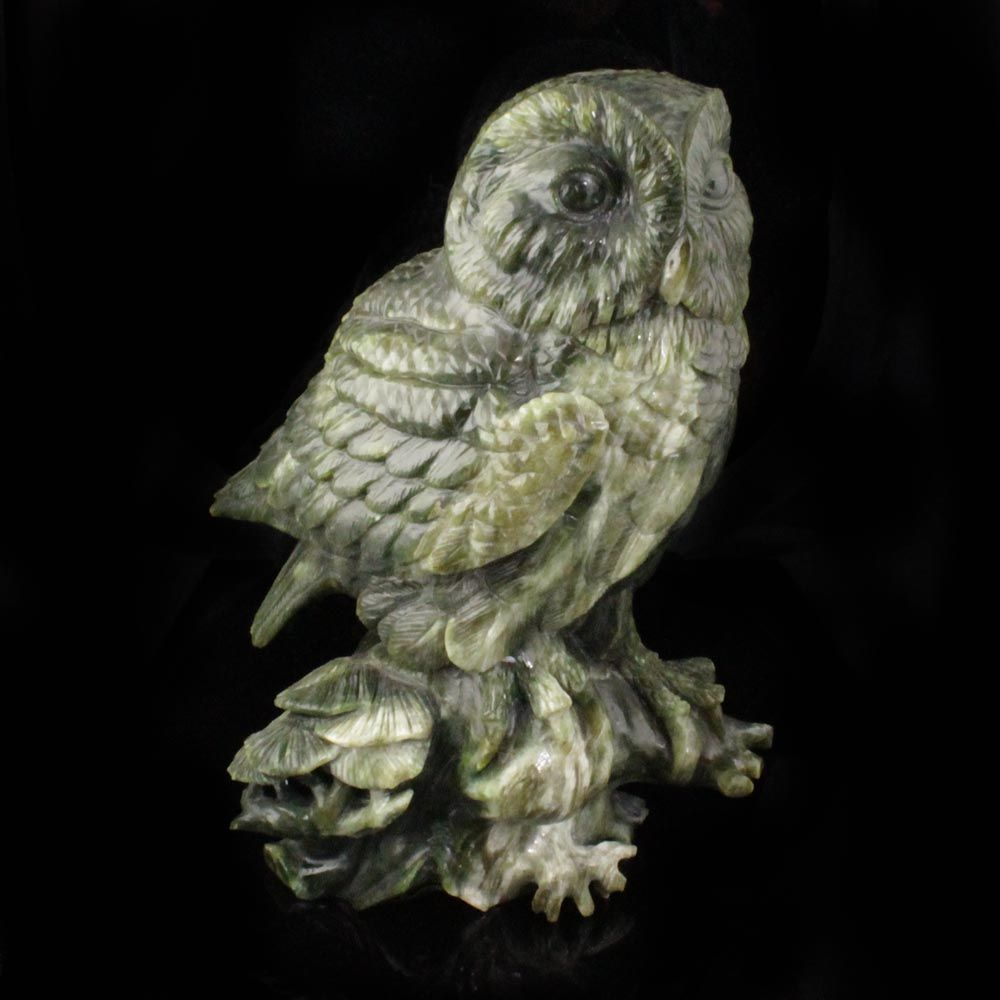 Green Genuine Natural Nephrite Jade Large Owl Figurine 10.25 inches