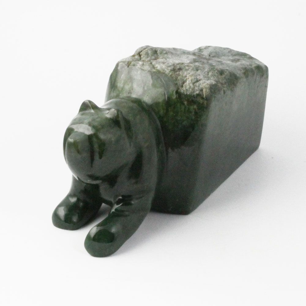 Green Genuine Natural Nephrite Jade 7 inch Bear Emerging from Jade Block - DISCONTINUED
