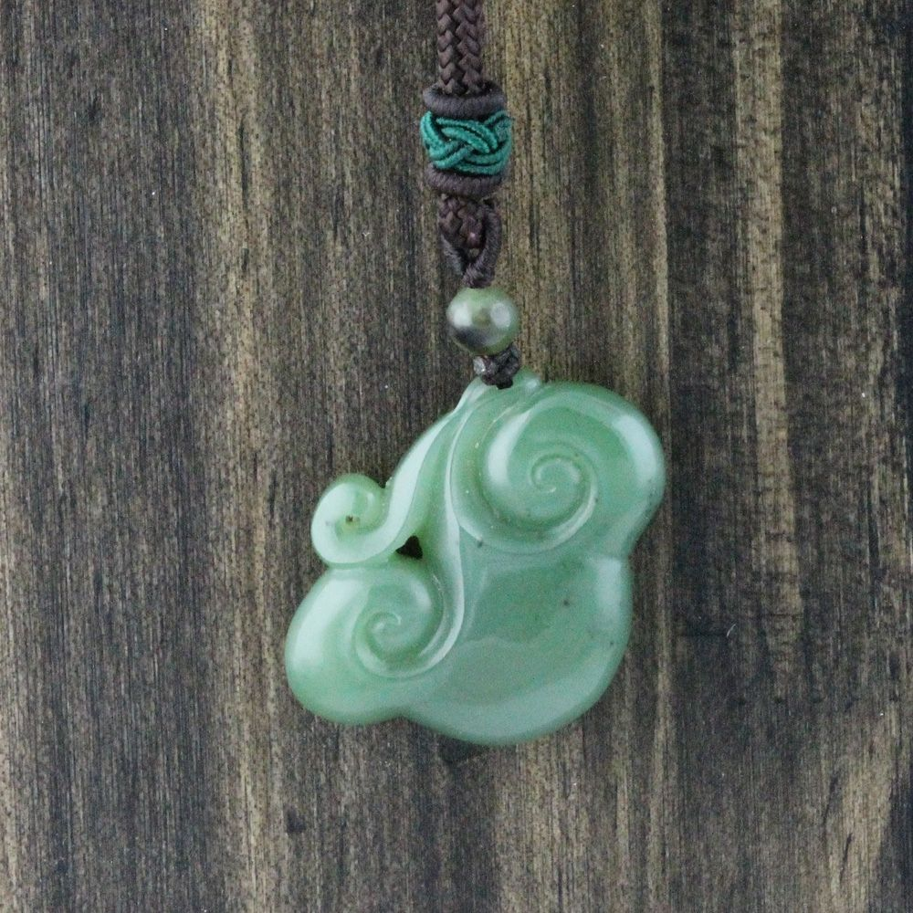 Green Genuine Natural Nephrite Jade Swirls Pendant Necklace Style 1 w/ Adjustable Cord - DISCONTINUED