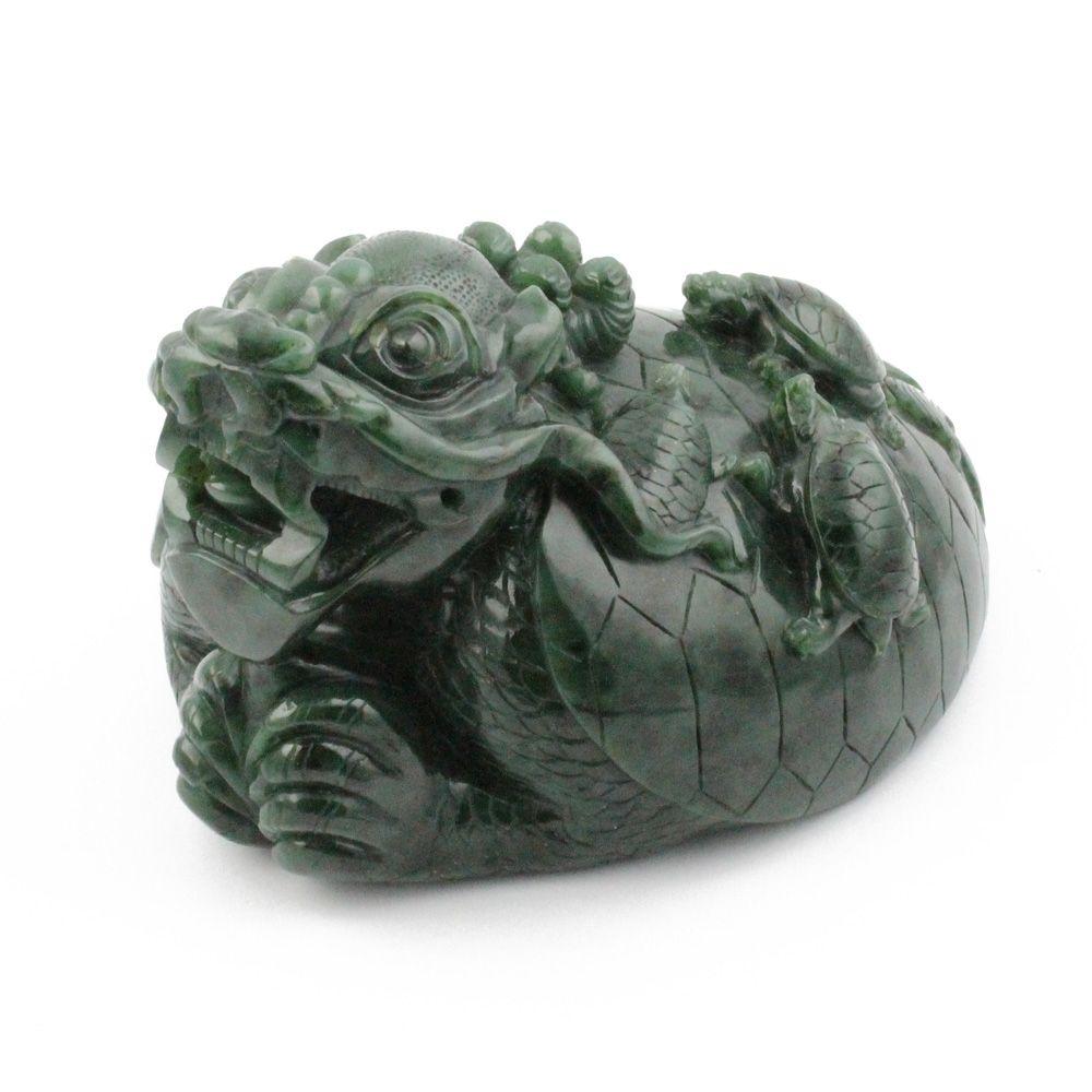 Green Genuine Natural Nephrite Jade Dragon Turtle Figurine 6in