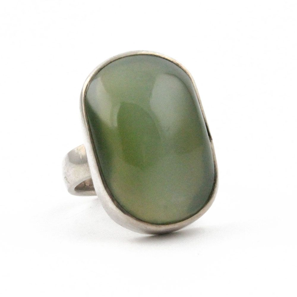 Chatoyant Siberian Green Genuine Natural Nephrite Jade Ring  925 Sterling Silver - SOLD