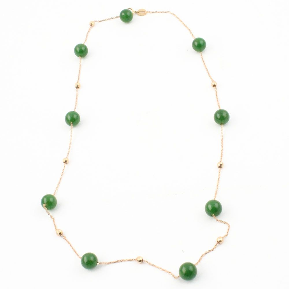 AAA 7mm Siberian Jade Beads Necklace w/18K Yellow Gold Clasp One of a Kind - DISCONTINUED