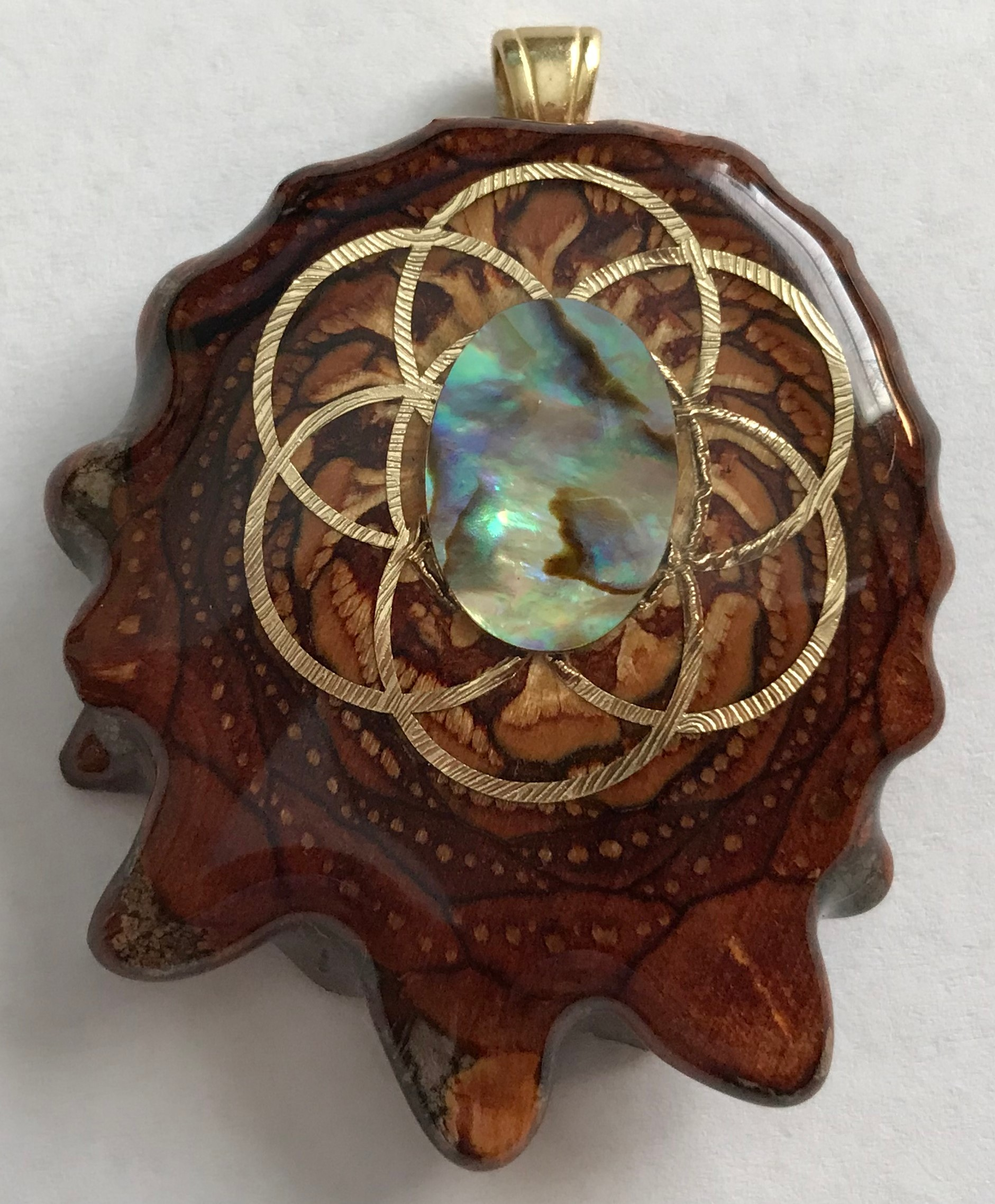 "Third Eye Pinecones - 1.5"" Paua Shell w/Seed of Life Pendant - Handcrafted from the Knobcone Pinecone"