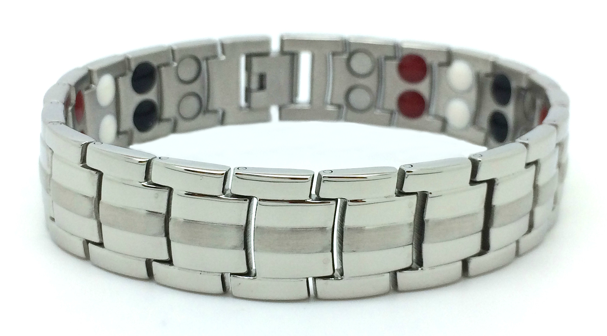 Mens 4-in-1 Silver - Stainless Steel Magnetic Therapy Bracelet (FWM-1)