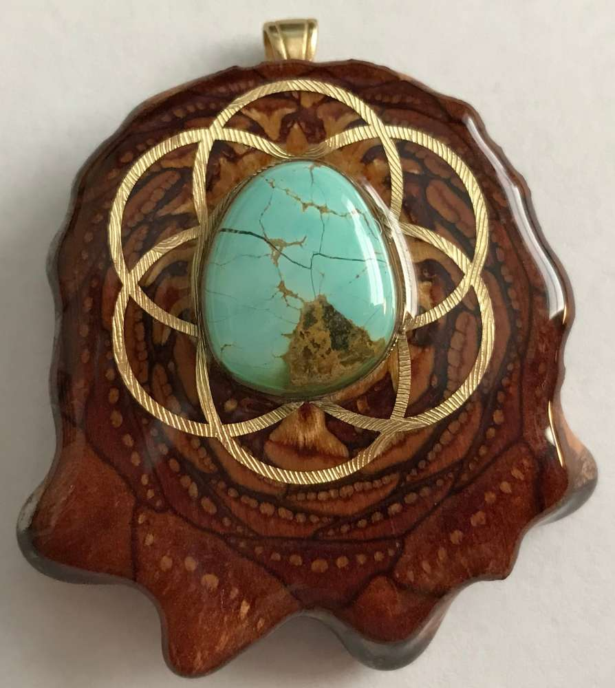 """Third Eye Pinecones - 2"""" Turquoise in the Matrix w/ Seed of Life Pendant - Handcrafted from the Knobcone Pinecone"""
